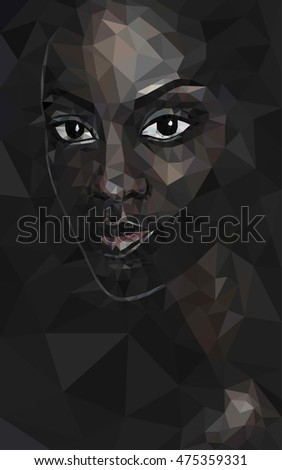 Black lives matter. African black woman poly face polygonal portrait vector, eps 8