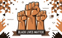 Black lives matter banner for protest, rally or awareness campaign against racial discrimination based on dark skin color. Support for equal rights of black people. Raised fists or hands in protest.