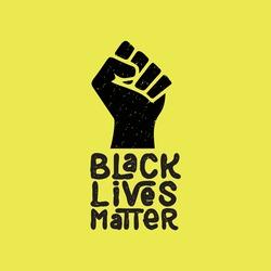Black Lives Matter. Black and white illustration depicting Black Lives Matter with fist icon. EPS Vector