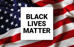 Black Lives Matter calligraphic text and USA flag vector illustration. Stop racism. I can t breathe. Stop shooting. Black lives matter. USA flag. Police violence. Stop violence. BLM. Stop racism.