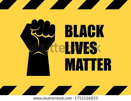 Black Lives Matter inscription with raised hand with clenched fist vector. African american fist icon isolated on a yellow background. Black clenched fist icon. Fist raised in protest vector