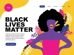 black lives matter landing page with black woman speak up. The social problems of racism.