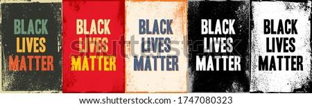 Black lives matter lettering cards on different backgrounds. Sticker, patch, poster design. Vintage colorful, black and white, red color design. Demonstration, revolution, protest typographic banner.