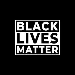 Black lives matter modern logo, banner, design concept, sign, with black and white text on a flat black background.
