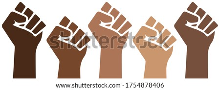 Black Lives Matter power pride fists, black history month, brown skin isolated, prejudice discrimination activism vector illustration, african american, people of color, graphic clip art.