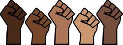 Black Lives Matter proud fists, black history pride, brown skin isolated, prejudice discrimination activism vector illustration, african american, people of color, power, graphic design.