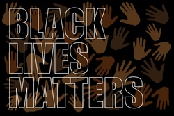 Black lives matter text on different colors hands on black background. New movement on the rise. Protests against racism in America. Modern vector in flat style