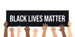 Black lives matters. Social poster, banner. Stop racism police violence. I can't breathe. Flat vector illustration