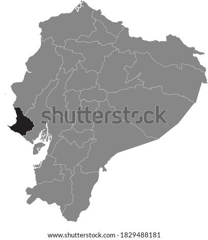 Black Location Map of the Ecuadorian Province of Santa Elena within Grey Map of Ecuador Stok fotoğraf ©
