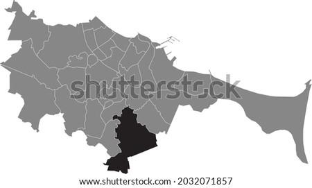 Black location map of the gdański Orunia-Św. Wojciech-Lipce district inside the Polish regional capital city of Gdansk, Poland Zdjęcia stock ©