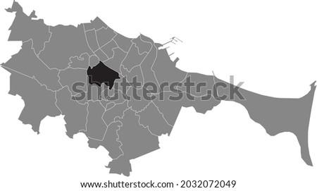 Black location map of the gdański Wrzeszcz Górny district inside the Polish regional capital city of Gdansk, Poland Zdjęcia stock ©