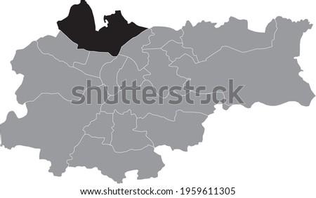 Black location map of the Krakovian Prądnik Biały (White Prądnik) district inside the Polish regional capital city of Krakow, Poland Zdjęcia stock ©