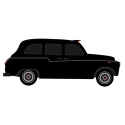 Black London taxi vector isolated, black cab