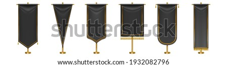 Black long pennant flags with golden tassel fringe and borders isolated on white background. Vector realistic template of blank textile pennons different shapes on gold pillars Stockfoto ©