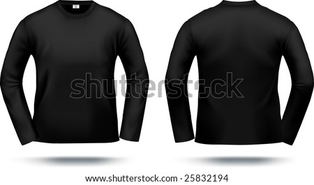 Black long-sleeved T-shirt design template (front & back). Contains gradient mesh elements, lot of details. More clothing designs in my portfolio!