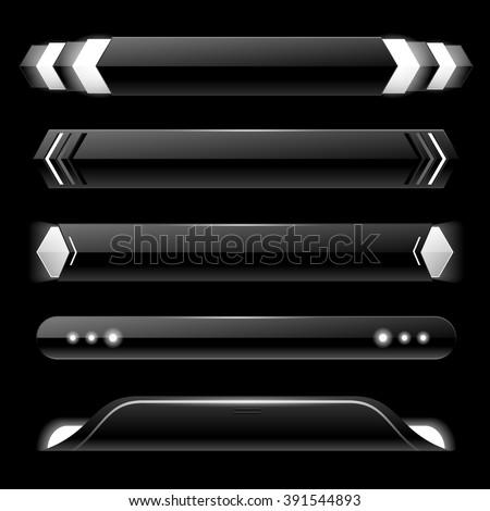 Black lower third banner bar screen broadcast - vector illustration