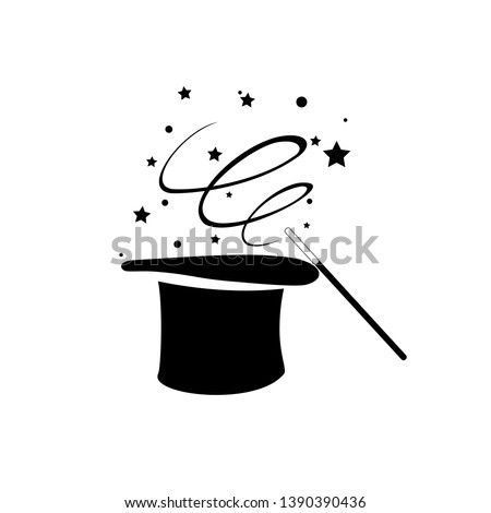 Black magic hat with wand stick, magical performance, wizard, fairy tale