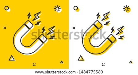 Black Magnet with lightning icon isolated on yellow and white background. Horseshoe magnet, magnetism, magnetize, attraction sign. Random dynamic shapes. Vector Illustration Stockfoto ©