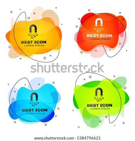 Black Magnet with money icon isolated. Concept of attracting investments, money. Big business profit attraction and success. Set of liquid color abstract geometric shapes. Vector Illustration