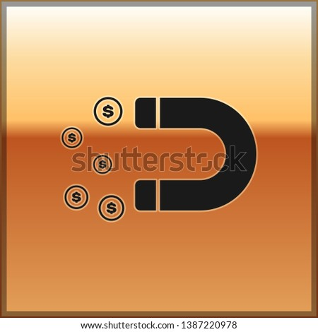 Black Magnet with money icon isolated on gold background. Concept of attracting investments, money. Big business profit attraction and success. Vector Illustration