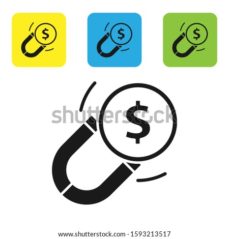 Black Magnet with money icon isolated on white background. Concept of attracting investments. Big business profit attraction and success. Set icons colorful square buttons. Vector Illustration