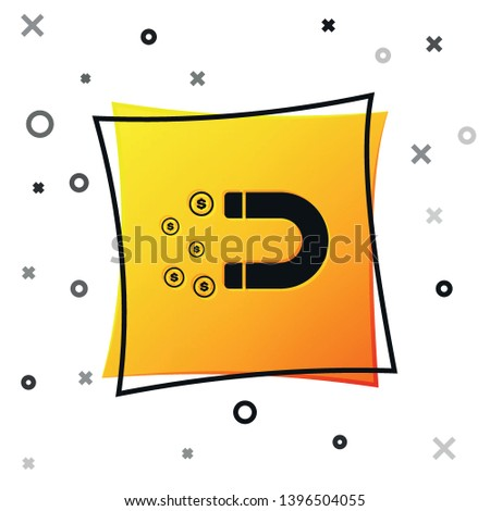 Black Magnet with money icon isolated on white background. Concept of attracting investments, money. Big business profit attraction and success. Yellow square button. Vector Illustration