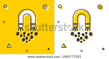 Black Magnet with money icon isolated on yellow and white background. Concept of attracting investments, money. Big business profit attraction and success. Random dynamic shapes. Vector Illustration