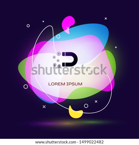 Black Magnet with money icon on dark blue background. Concept of attracting investments, money. Big business profit attraction and success. Abstract banner with liquid shapes. Vector Illustration