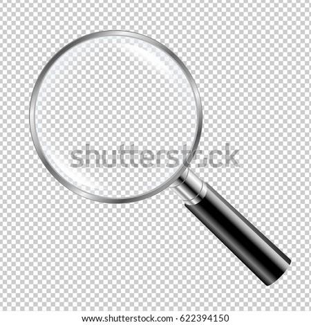 Black Magnifying Glass Gradient Mesh, Vector Illustration