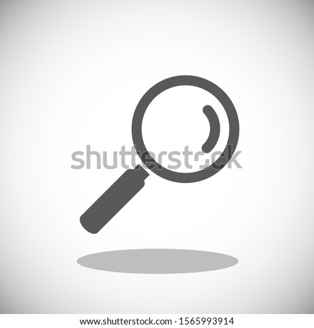 Black magnifying glass icon isolated on gray background. Search icon in flat style. Magnifying glass icon for search and zoom symbol, sign, ui and magnifier logo. Modern magnifying glass vector