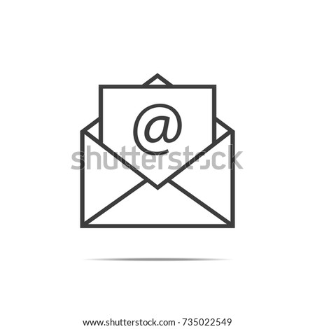 Black Mail sign icon, envelope. Flat design style. Newsletter icon, message icon. Vector illustration, eps10