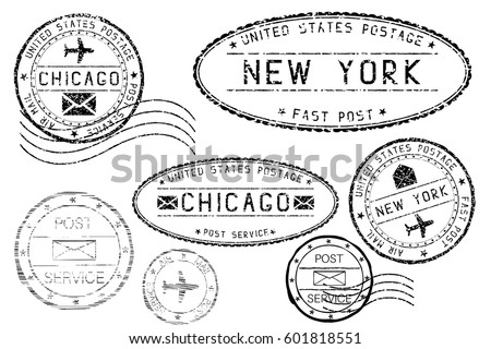 Black mail stamps of New York and Chicago. Partially faded. Vector illustration