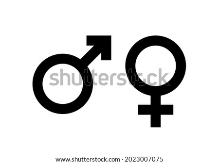 Black Male and female sign. Circle with an arrow and cross down. Belonging to the masculine or female gender. Vector Illustration Foto d'archivio ©