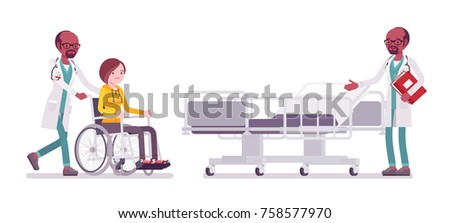 Black male doctor and hospitalized patient. Man in hospital uniform admitting wheelchair man in clinic. Medicine, healthcare concept. Vector flat style cartoon illustration isolated, white background