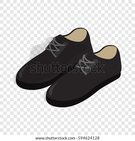 Black male shoes with laces isometric icon 3d on a transparent background vector illustration