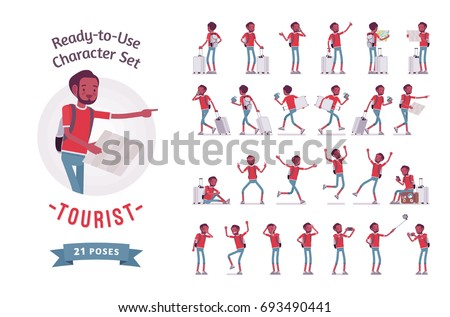 Black male tourist with trip luggage and rucksack. Ready-to-use character set. Various poses, emotions, traveling guide for vacation tour. Full length, front, rear view isolated, white background