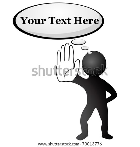 Black man hold out his hand and thinking about stopping something. Easy to change colors and text. VECTOR