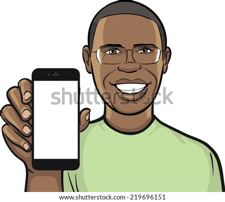 black man in glasses showing a