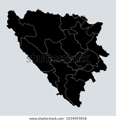 black map of bosnia herzegovina