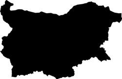 Black Map of Bulgaria on White Background