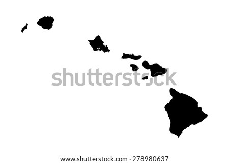 black map of hawaii