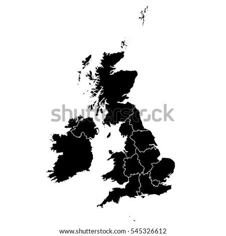 Black map of United Kingdom Foto d'archivio ©