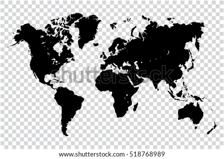 black map of world on