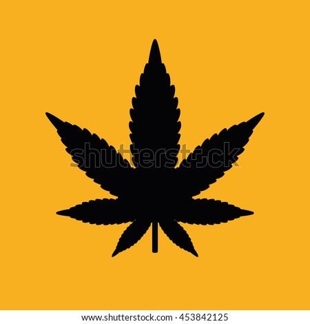 Black marijuana leaf icon. Yellow background