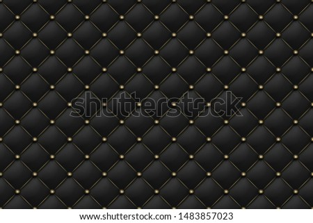 Black matte leather texture seamless pattern. Background upholstery rich sofa and luxury sofa. Vector abstract antique illustration. Close-up.