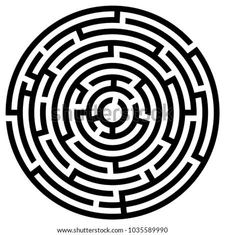 Black maze circle. Black labyrinth. Maze symbol. Labyrinth isolated on white background
