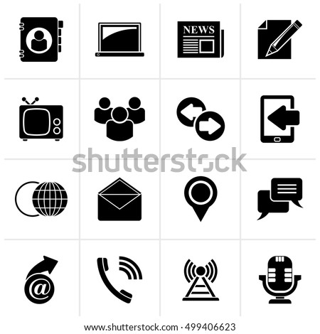 Black Media and communication icons - vector icon set