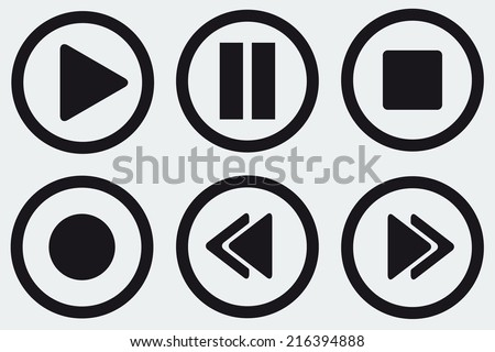 Black media player buttons collection vector