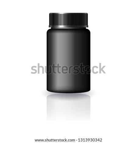 Black medicine round bottle with black grooved lid for beauty or healthy product. Isolated on white background with reflection shadow. Ready to use for package design. Vector illustration.