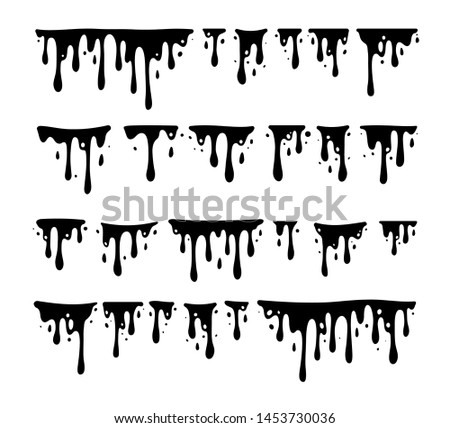 Black Melting Paint Abstract Liquid Vector Elements Isolated on White Background. Border and Drips Ink Set. Vector Illustrations.